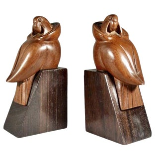 Art Deco Bookends of Parrots in Wood by George Laurent - a Pair For Sale