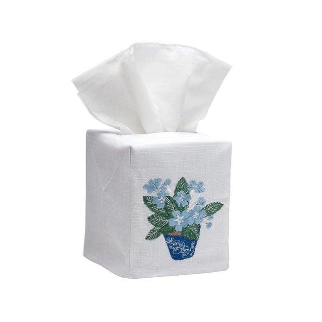 Blue Cache Pot Tissue Box Cover - White Linen / Cotton, Embroidered For Sale - Image 4 of 4