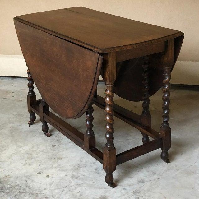 Antique Barley Twist Gateleg Drop Leaf Table For Sale - Image 13 of 13