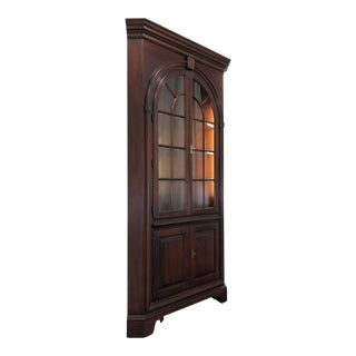 Statton Old Towne Cherry Chippendale Style Corner Cupboard For Sale