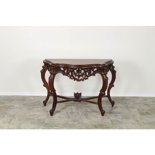 Traditional Carved Wood Console Table, Vintage Carved Wood Console For Sale - Image 9 of 10