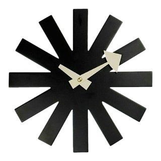 Mid-Century Modern Asterisk in Black Wall Clock Inspired by George Nelson Design For Sale