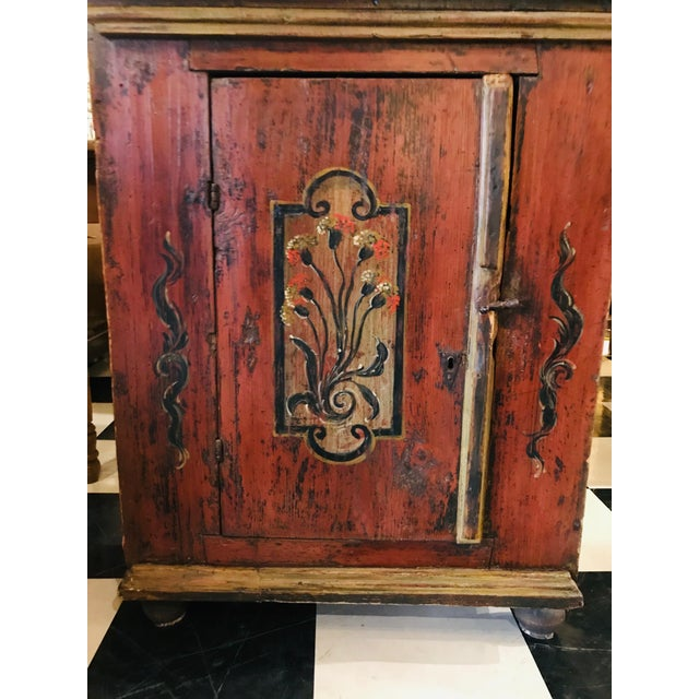 Wood 18th Century Swedish, Paint Decorated Cabinet For Sale - Image 7 of 8