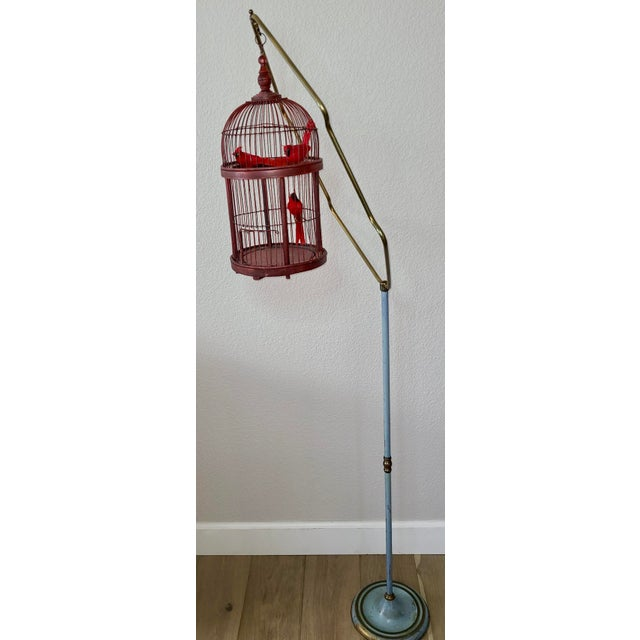 Gorgeous, antique bird cage stand with boho birdcage. Cardinal filled birdcage is a more modern edition, we include with...