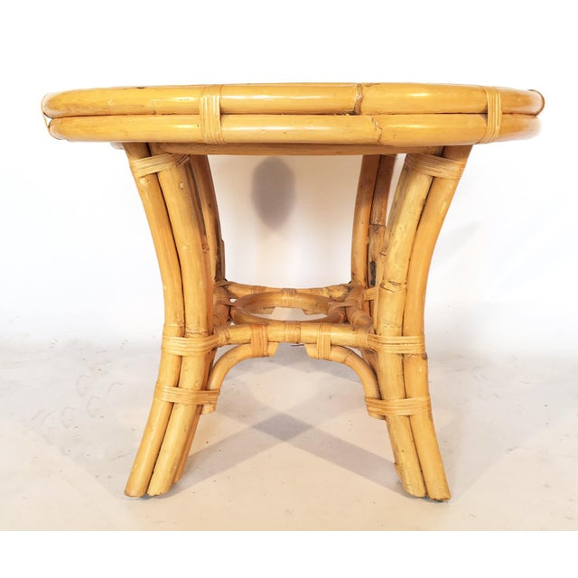 Vintage Palm Beach Cane and Rattan Round Side Table - Image 6 of 7