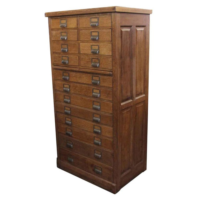 Restored antique oak filing cabinet with 16 drawers, pull out shelf and  brass cardholders. - Antique 16-Drawer Oak File Cabinet Chairish