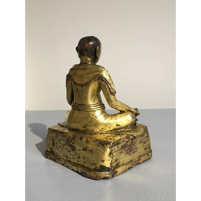 16th Century Tibetan Gilt Bronze Figure of an Arhat For Sale - Image 5 of 10