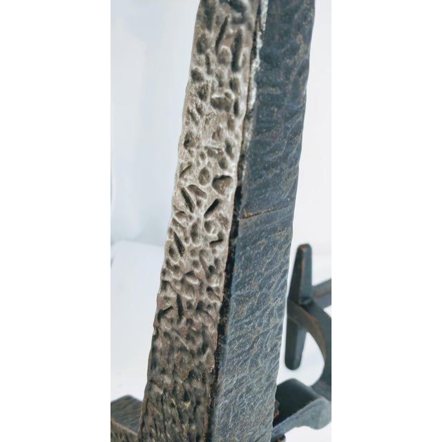 Vintage Bradley Hubbard Arts Crafts Cast Iron Fireplace Hammered Ball Andirons - a Pair For Sale - Image 12 of 13