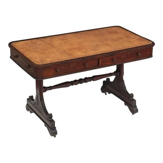Scottish Library Table or Writing Desk with Leather Top For Sale
