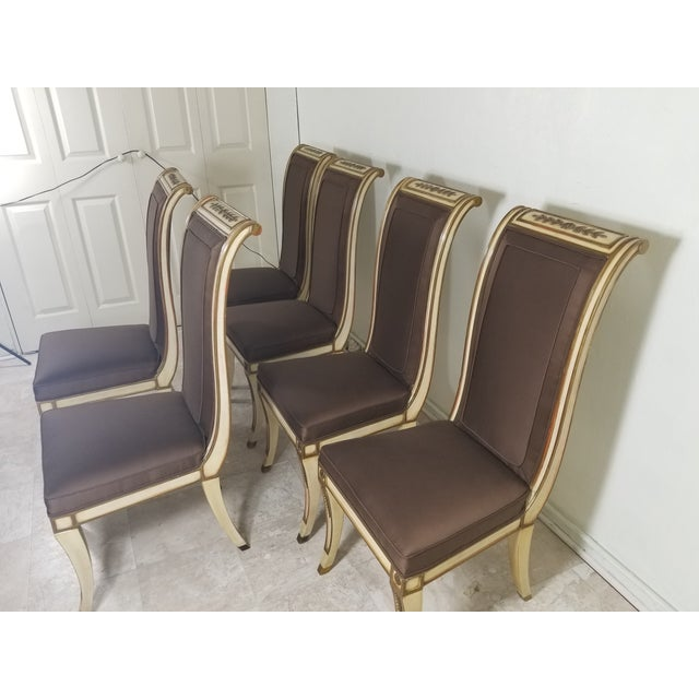 1940s Vintage Hollywood Regency Dining Chairs- 6 Pieces For Sale In Los Angeles - Image 6 of 13