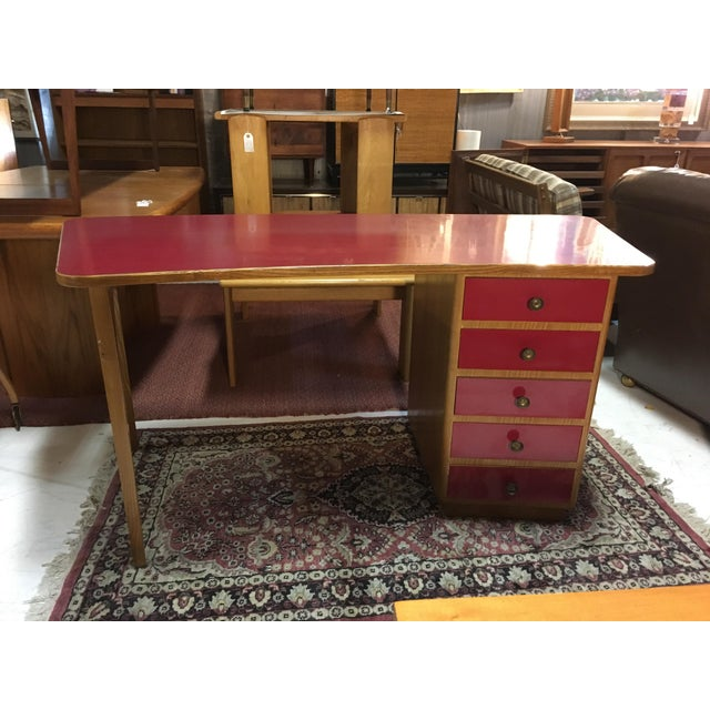 Red 1950s Mid-Century Modern Oak and Red Laminate Writing Desk For Sale - Image 8 of 9