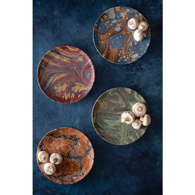 Plastic Library Marble Side Plates - Set of 4 For Sale - Image 7 of 8