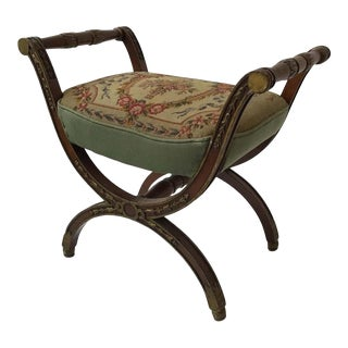 1920s French Needlepoint Bench For Sale