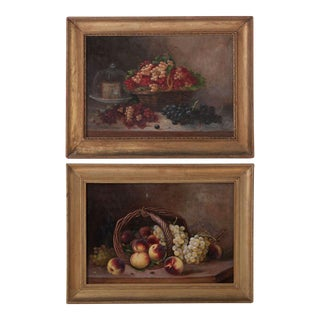 French 19th Century Pair of Still Life Oil Paintings By Menne For Sale