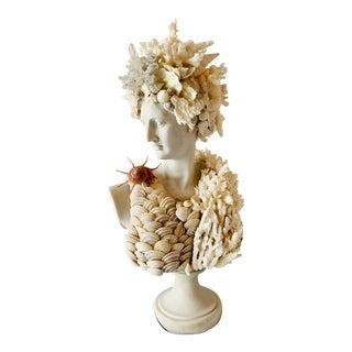 "Mediterranean Seashell-Encrusted Diana Bust - 14"" For Sale"