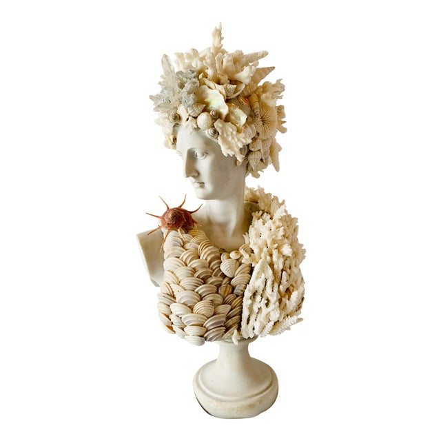 "Mediterranean Seashell-Encrusted Diana Bust - 14"" For Sale"