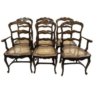 French Provincial Carved Ladder Back Caned Dining Chairs Set/6