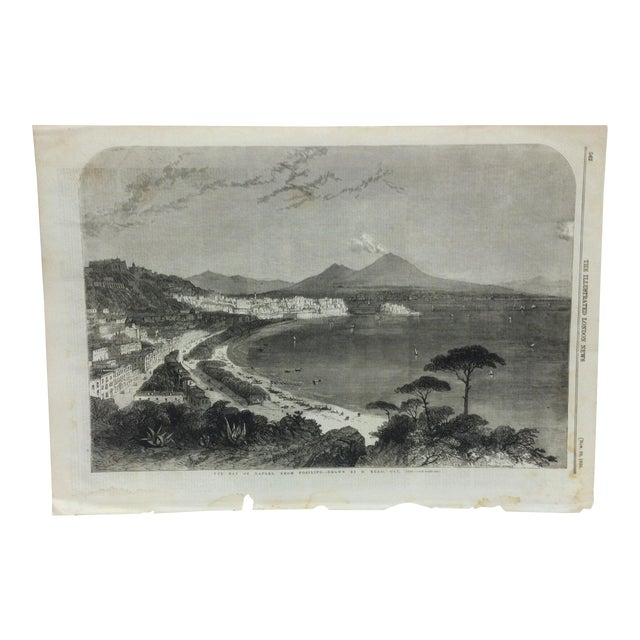 """1856 Antique """"The Bay of Naples - From Posilipo"""" The Illustrated London News Print For Sale"""