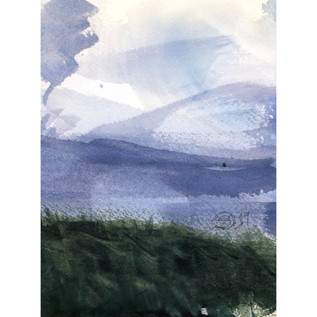 """Sky Blue Contemporary Landscape Plein-Air Watercolor Painting, """"Cloud Study From Magnuson"""", by Artist David O. Smith For Sale - Image 8 of 11"""