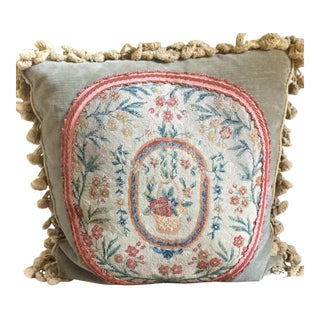 Antique Floral Needlepoint Pillow
