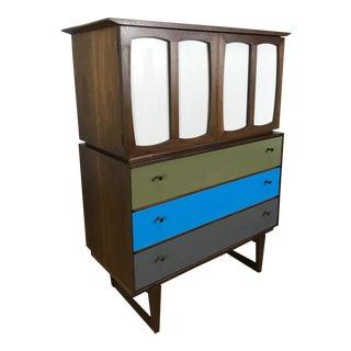 1960s Mid Century Modern Stanley High Boy Walnut Dresser