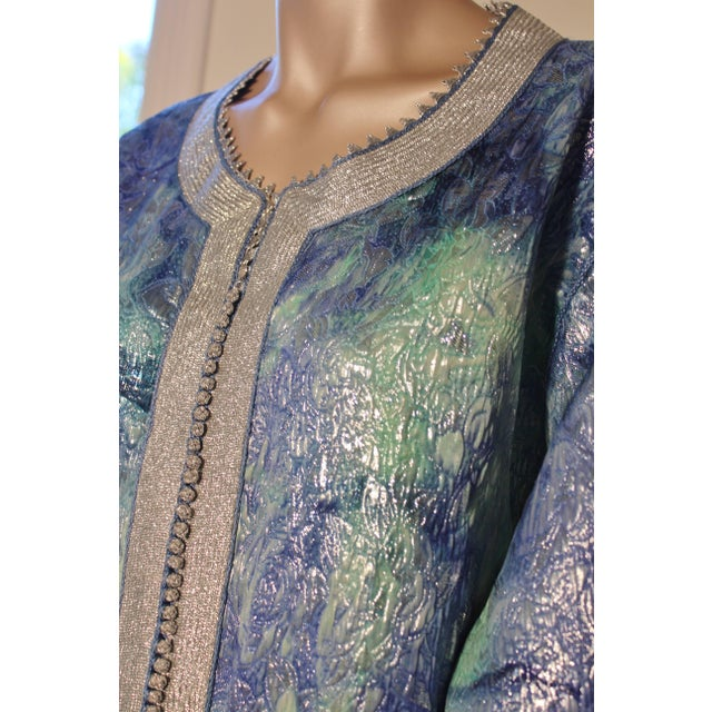 Moroccan Caftan Maxi Dress Brocade Aquamarine Blue and Silver Size M to L For Sale In Los Angeles - Image 6 of 11
