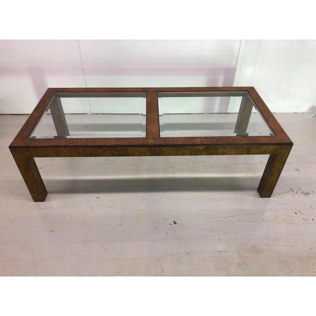 Chic sleek looking Mid-Century Modern Parsons-style burl wood rectangular coffee table by John Widdicomb for Grand Rapids...