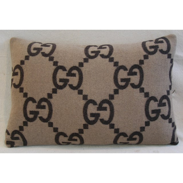 """23"""" X 16"""" Custom Tailored Gucci Cashmere & Velvet Feather/Down Pillows - Pair For Sale - Image 10 of 11"""