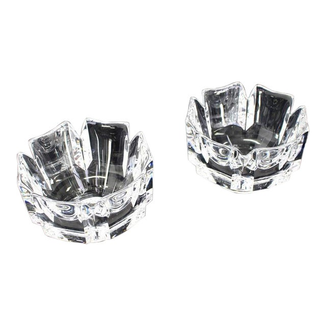 Pair of Heavy Crystal Bowl Vases by Orrefors For Sale