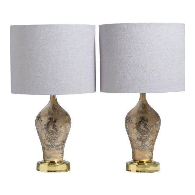 A Pair of Fornasetti Style Eglomise Glass Table Lamps 1970s For Sale