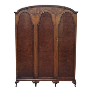 Vintage Triple Door Burl Walnut Armoire C.1930s For Sale