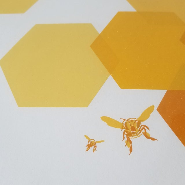 """1960s 1960s """"Bees and Hexagons"""" Minimalist Serigraph, Framed For Sale - Image 5 of 10"""