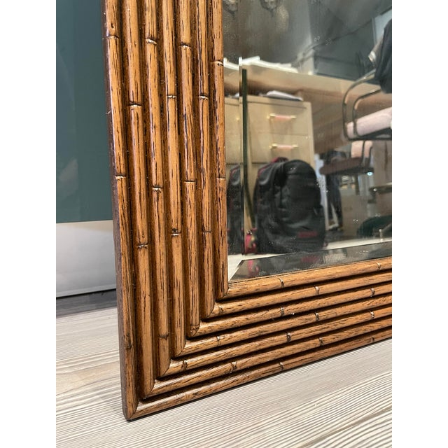 Contemporary Vintage Walnut Bamboo Mirror For Sale - Image 3 of 6