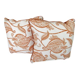 Reversible Rusty Orange Print Pillows - A Pair For Sale