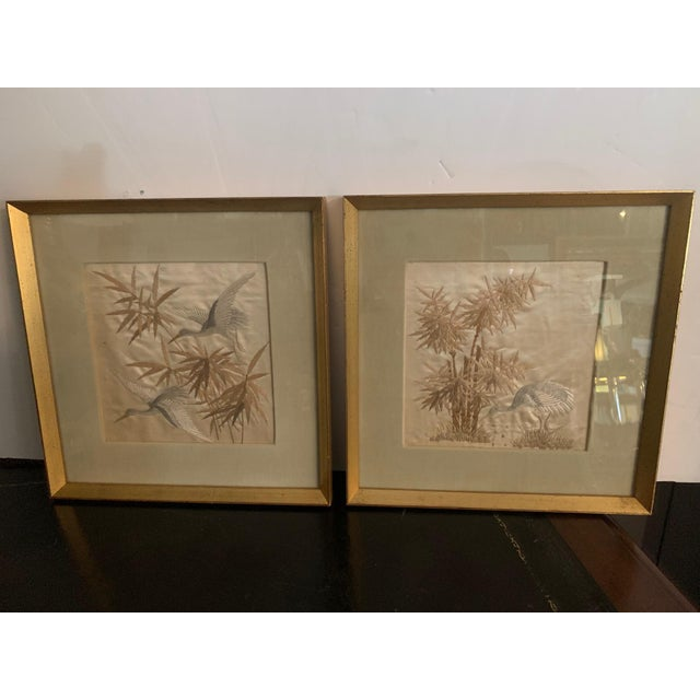 Antique Framed Fine Needlework of Herons -A Pair For Sale In Philadelphia - Image 6 of 11