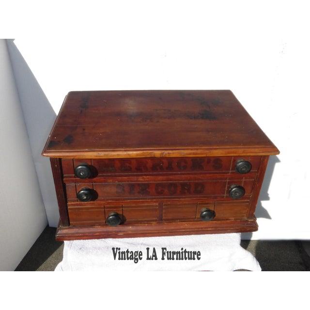 Antique Merrick's Six Cord Thread Box Cabinet - Image 4 of 11 - Antique Merrick's Six Cord Thread Box Cabinet Chairish