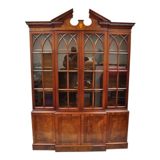 Drexel Wallace Nutting Mahogany Breakfront Bookcase China Cabinet Cupboard For Sale