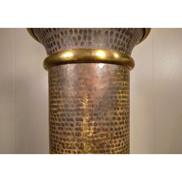 Chapman Brass & Hammered Metal Brutalist Lamp For Sale - Image 10 of 13