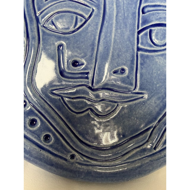 Pablo Picasso Blue Abstract Art Ceramic Pottery Plate Face Sculpture For Sale - Image 4 of 11