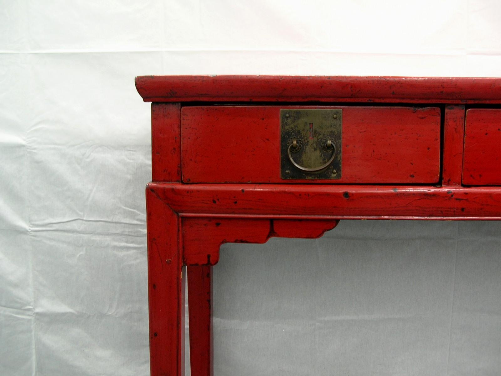 Antique Chinese Red Lacquer Display Side Desk   Image 4 Of 12