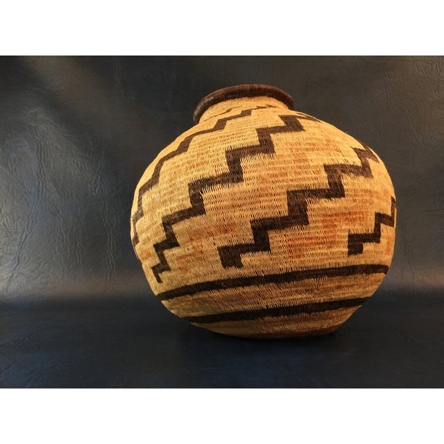 Organic Colombian Werregue Round Woven Basket - Image 3 of 7