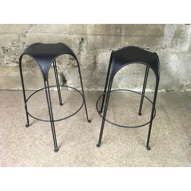 1980s 1980s Modern Iron Barstools With Black Leather Tops- Set of 4 For Sale - Image 5 of 11