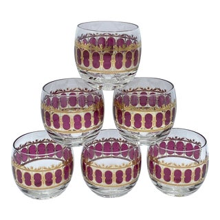 Mid-Century Culver Ruby Scroll Roly Poly Glasses-Set of 6 For Sale
