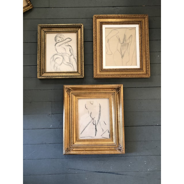 Gallery Wall Collection 3 Original Vintage Female Nude Charcoal Studies For Sale In Philadelphia - Image 6 of 6