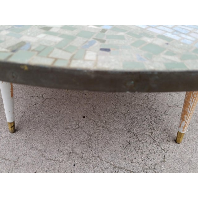 Blue Exceptional Mosaic Tile Coffee Table With Sail Boat For Sale - Image 8 of 13