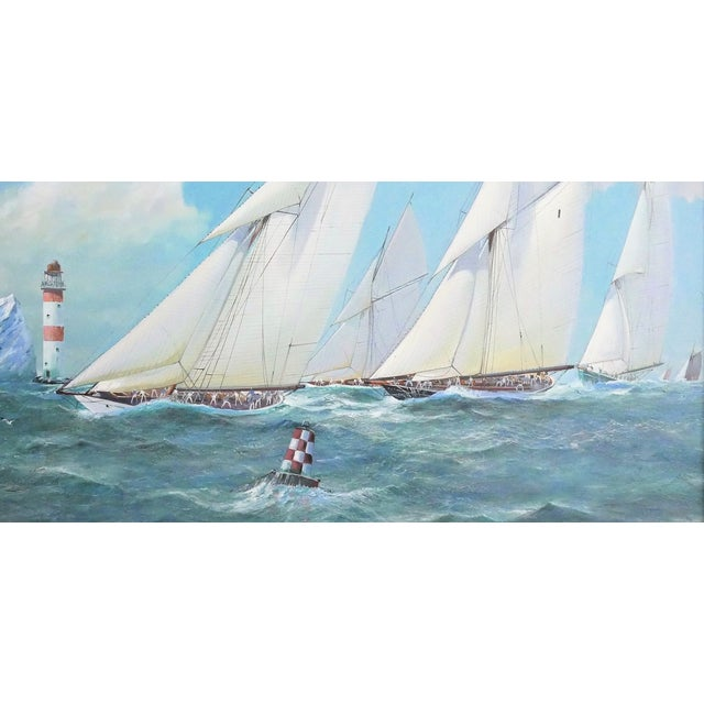 Nautical Yacht Racing Oil on Canvas, M Whitehand For Sale - Image 4 of 9