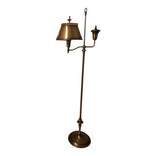 Vintage Brass Toleware Floor Lamp For Sale