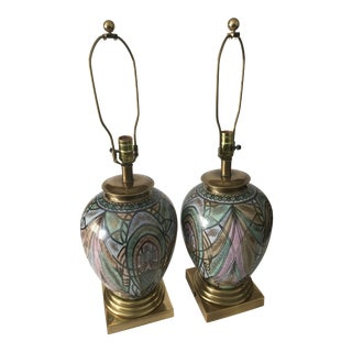 1980s Mid-Century Modern Frederick Cooper Porcelain Lamps - a Pair
