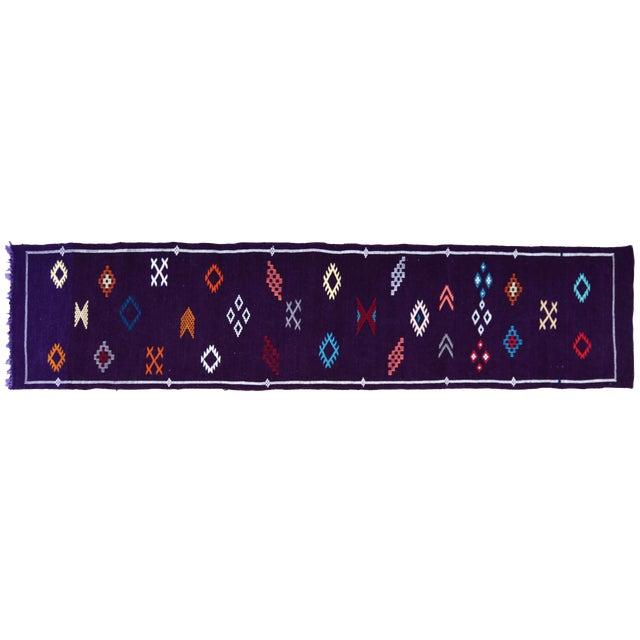 Purple Moroccan Silk Runner- 9'10'' x 2'2'' For Sale