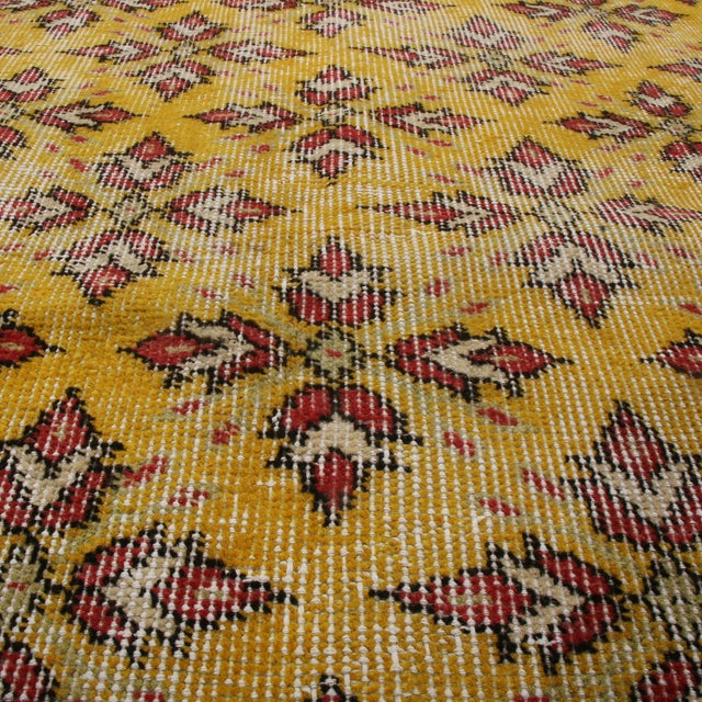 Traditional Vintage Mid-Century Gold-Yellow and Red Geometric-Floral Wool Rug- 3′10″ × 6′4″ For Sale - Image 3 of 6